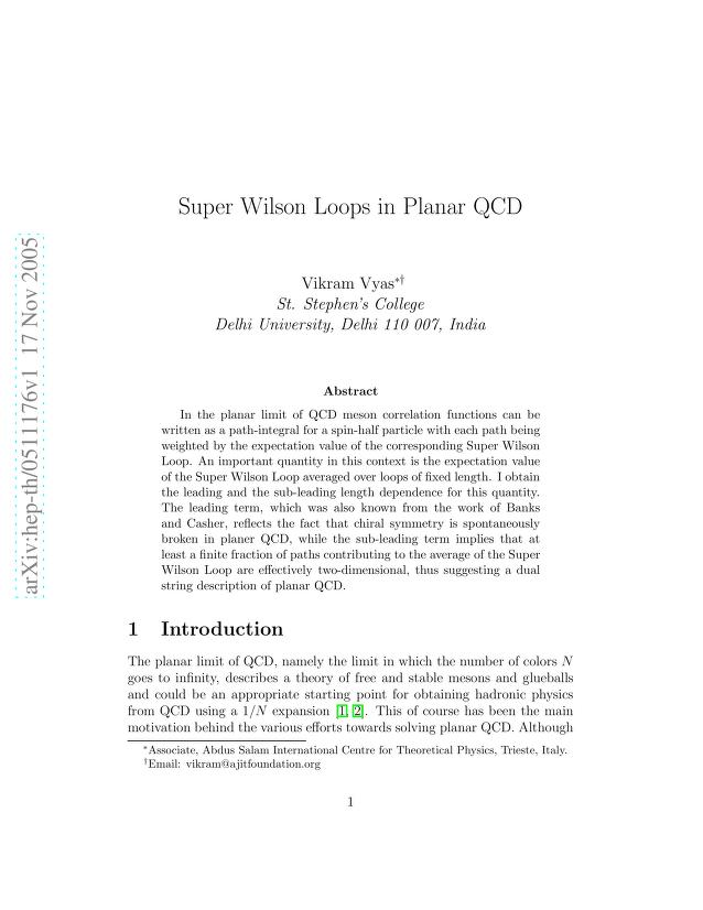 Vikram Vyas - Super Wilson Loops in Planar QCD