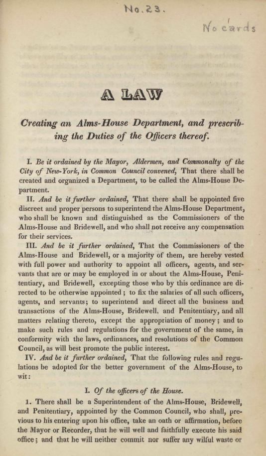 New York (N.Y.). - A law creating an Alms-House Department, and prescribing the duties of the officers thereof