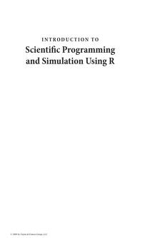Introduction to scientific programming and simulation using R by