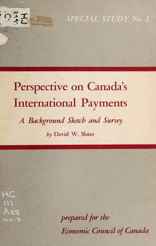 Perspective on Canada's international payments by David W. Slater