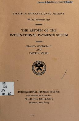 Cover of: The reform of the international payments system   Franco Modigliani