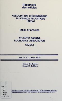 Cover of: Répertoire des articles, Association d'économique du Canada atlantique (AECA) | Michel Deslierres