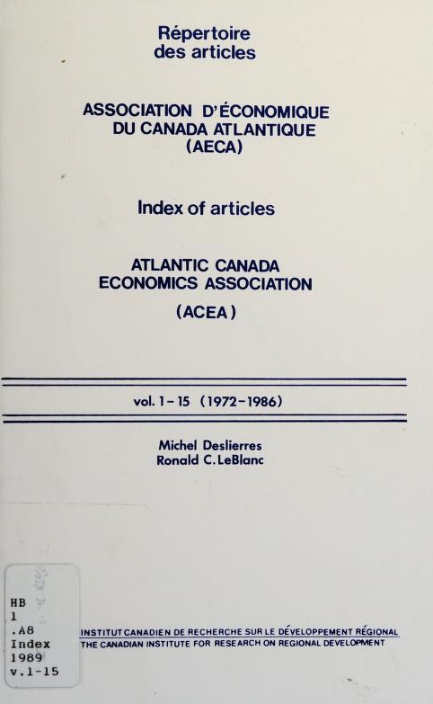 Répertoire des articles, Association d'économique du Canada atlantique (AECA) by Michel Deslierres