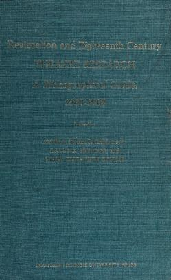 Cover of: Restoration and eighteenth century theatre research | Carl Joseph Stratman